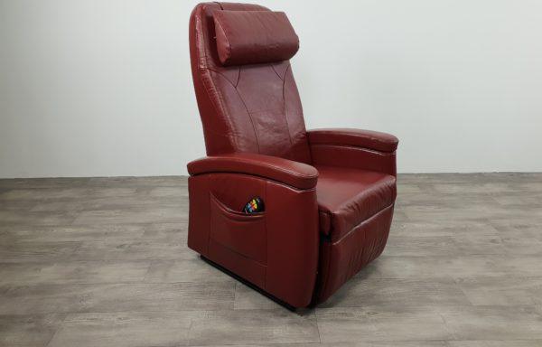 #517- Sta-op stoel donkerrood leer. 2014. met draaischijf